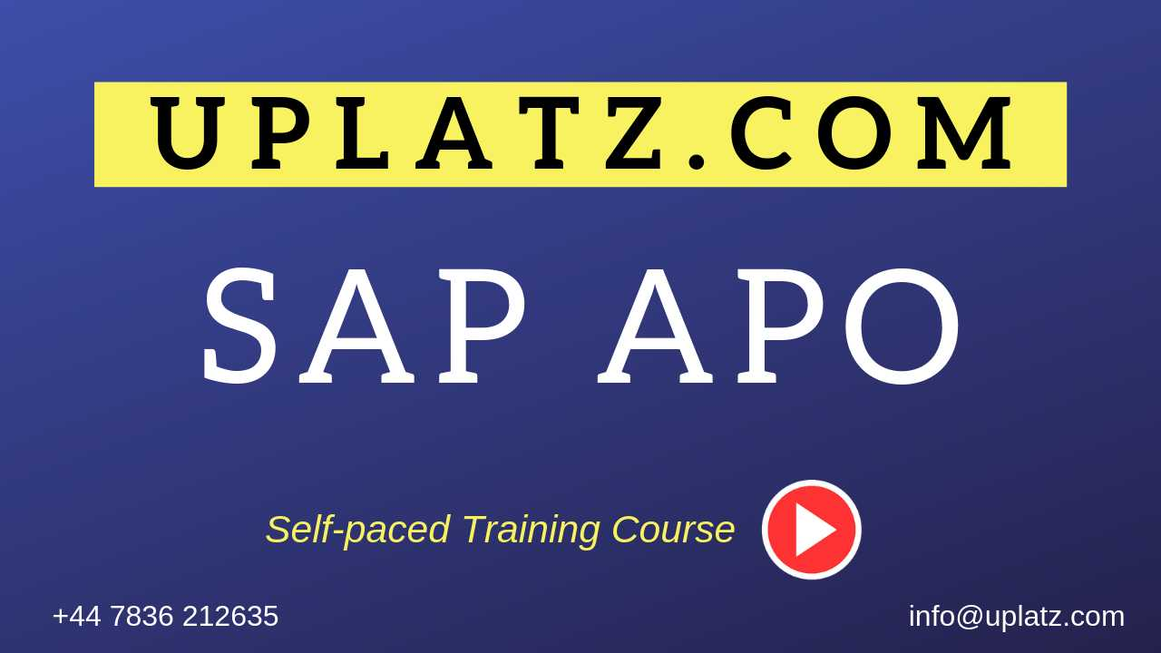 SAP APO (Advanced Planning and Optimization) online course and certification