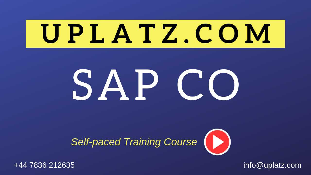 SAP CO (Controlling) online course and certification