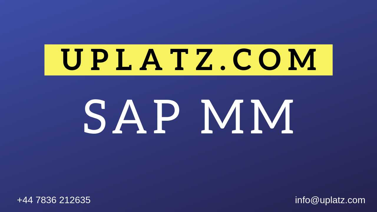 SAP MM Training online course and certification