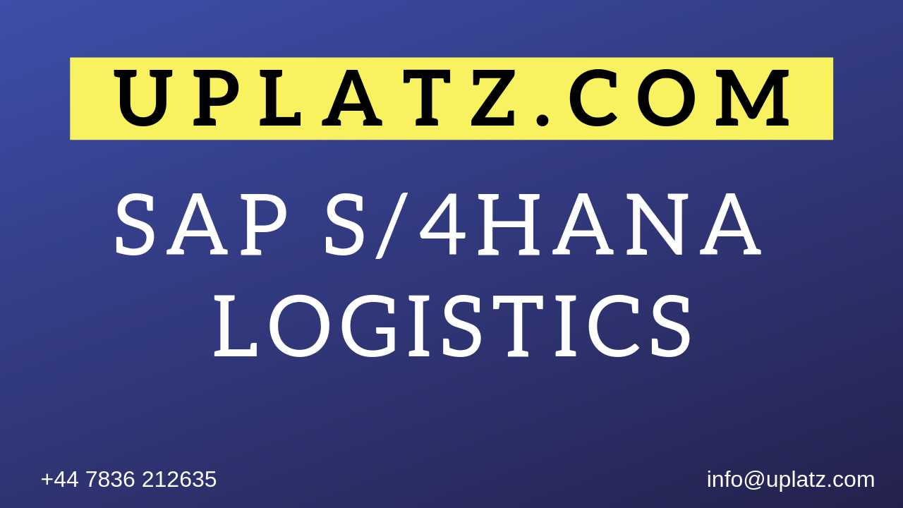 SAP S/4HANA Logistics Training course and certification