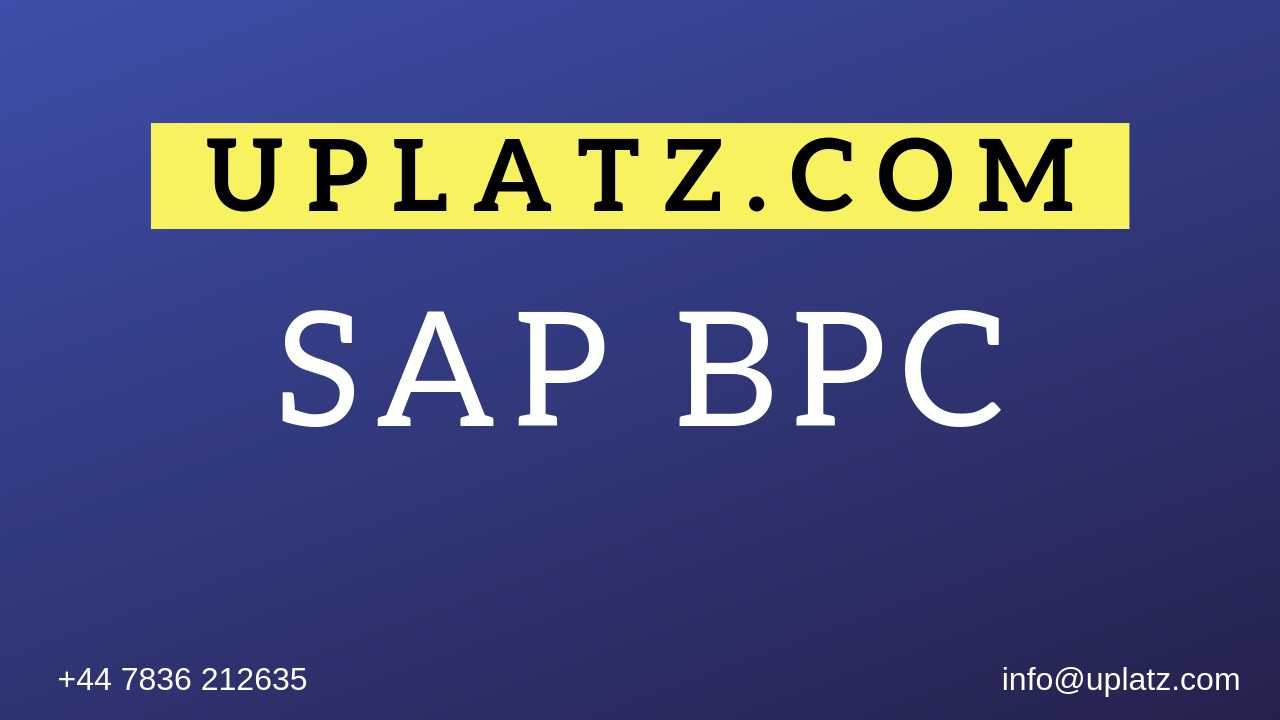 SAP BPC Training course and certification