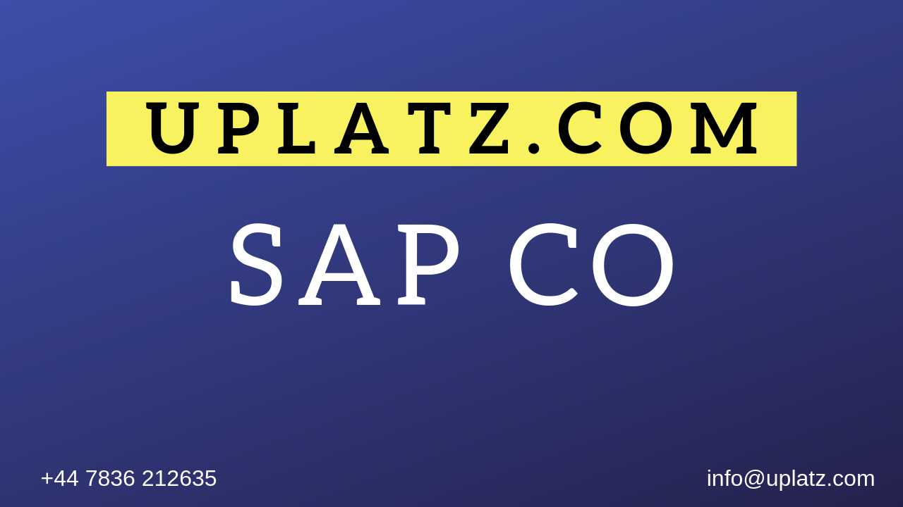 SAP CO Training online course and certification