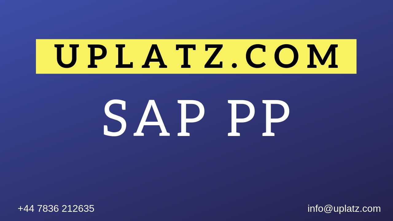 SAP PP Training online course and certification