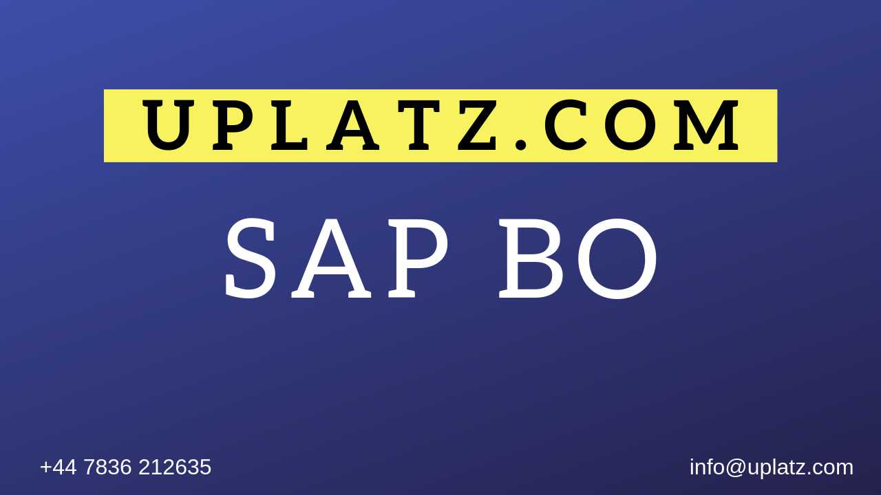 SAP BO Training course and certification