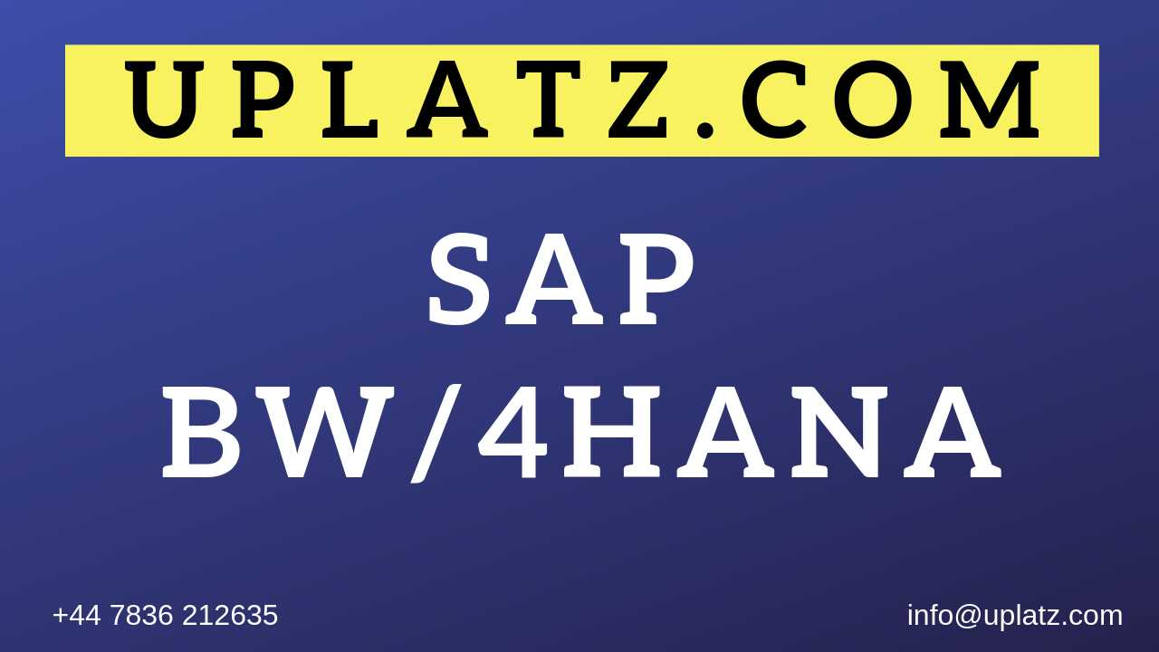 SAP BW/4HANA Training online course and certification