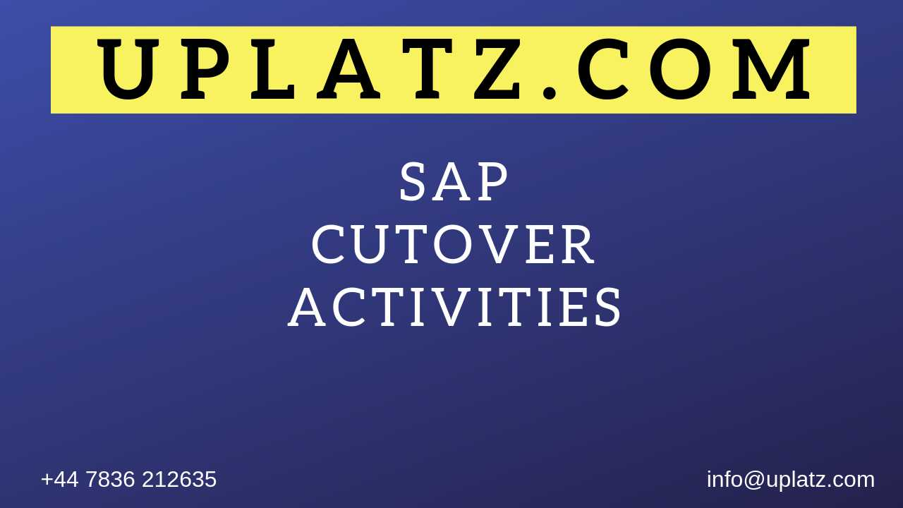 SAP Cutover Activities in Project Implementation online course and certification