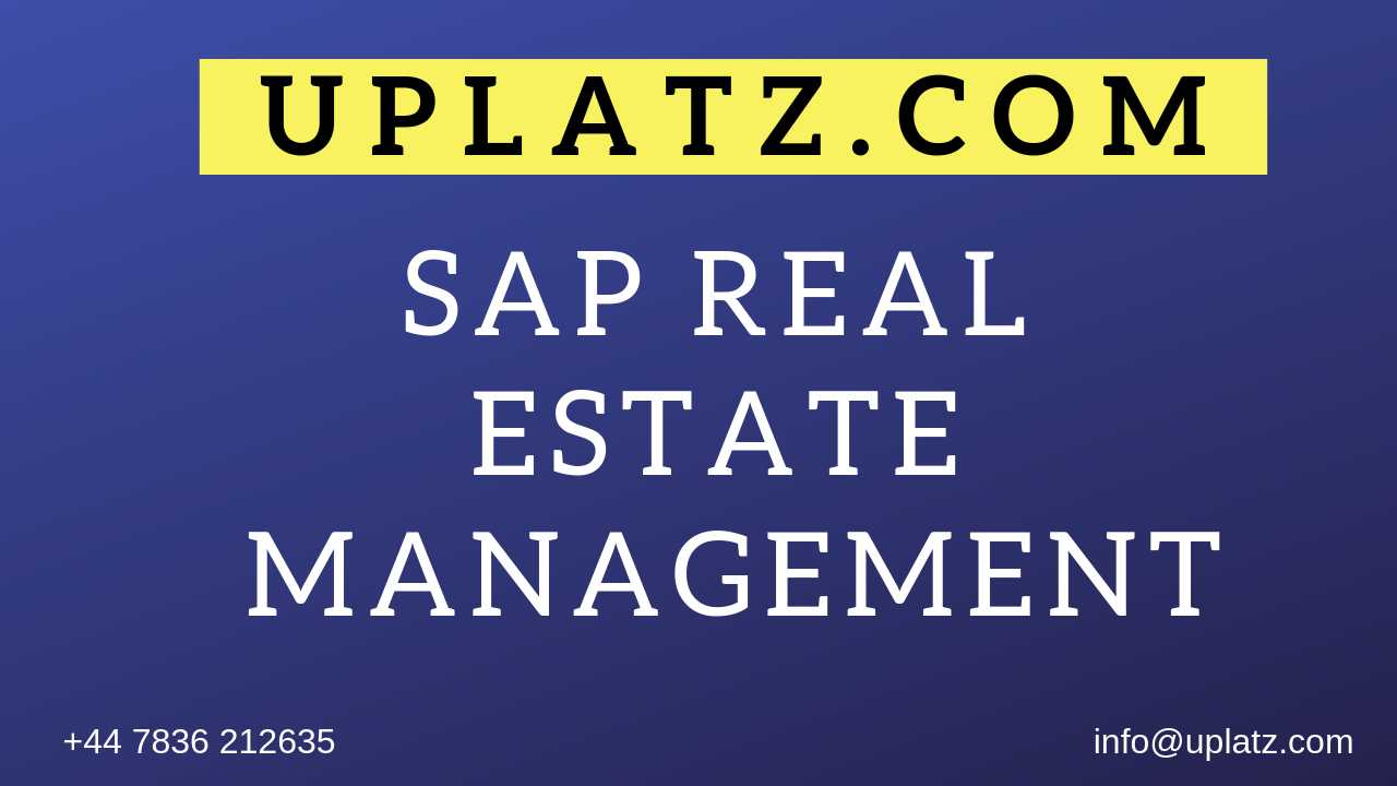 SAP Real Estate Management Training online course and certification