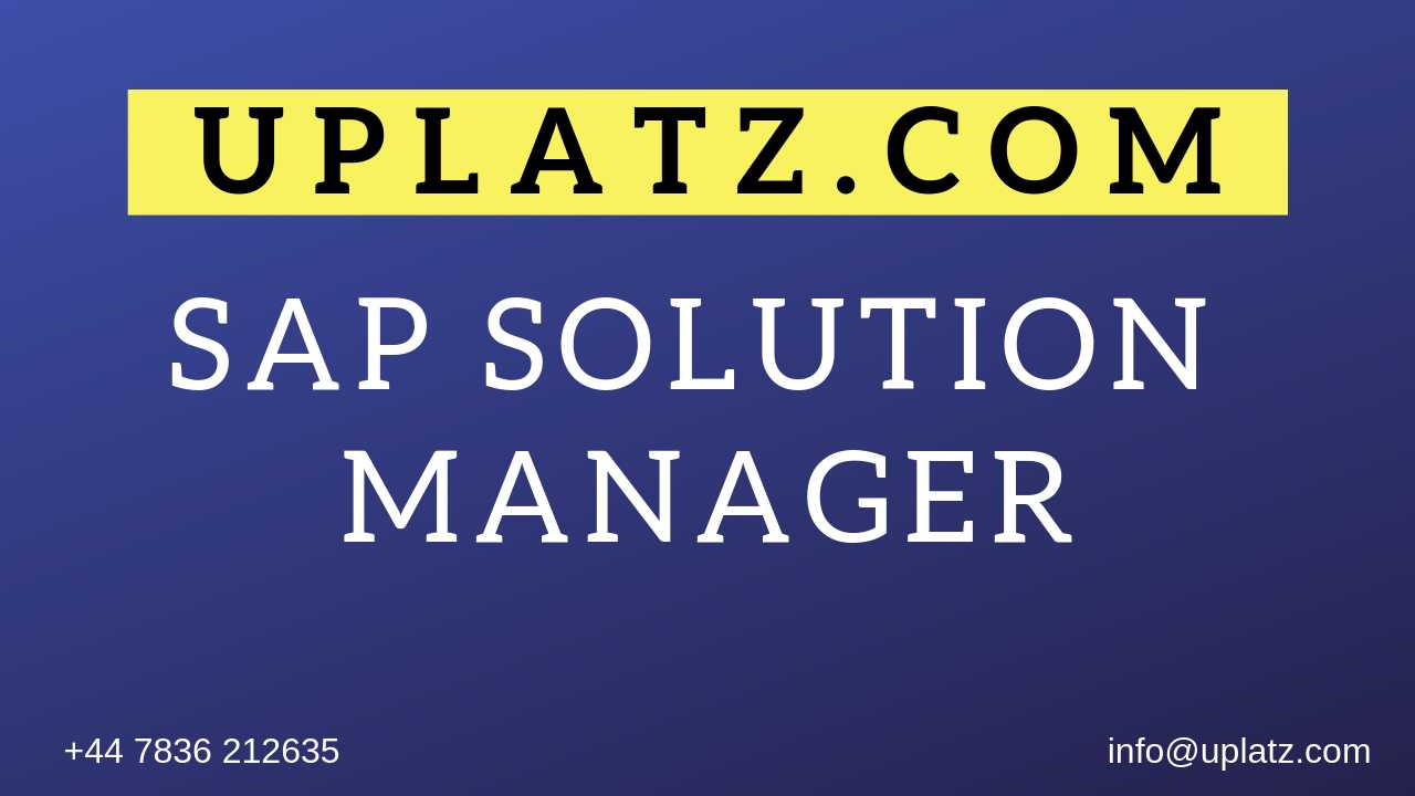 SAP Solution Manager Training course and certification