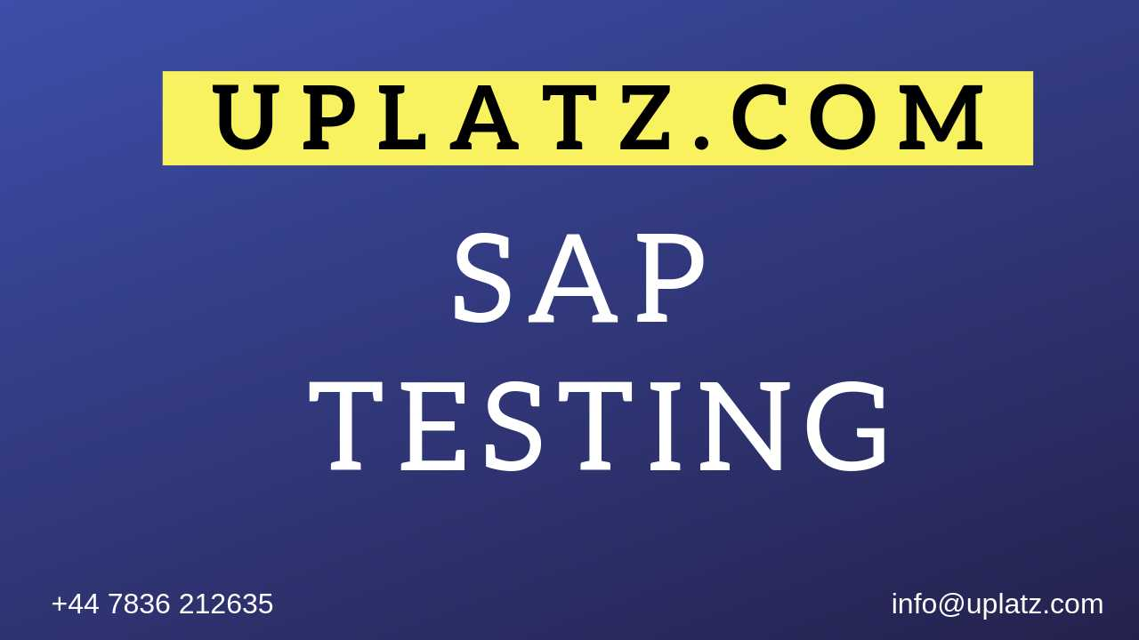 SAP Testing Training course and certification