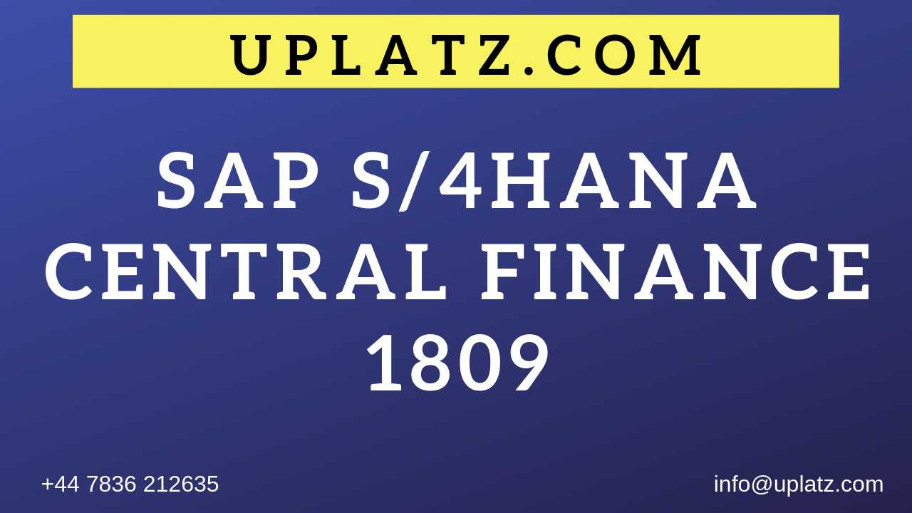 SAP S/4HANA Central Finance 1809 online course and certification