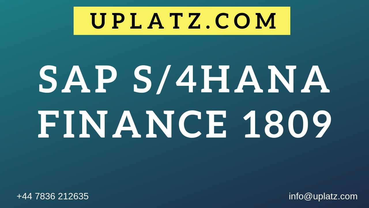 SAP S/4HANA Finance 1809 Training and Certification | SAP S